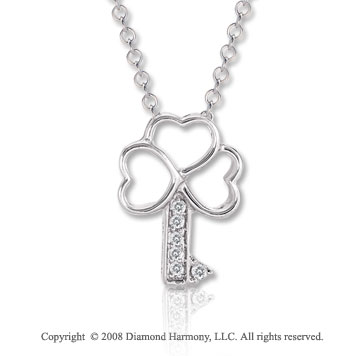14k White Gold Diamond Triple Heart Key Pendant