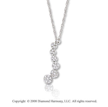 14k White Gold 1/5 Carat Diamond Flower Journey Necklace
