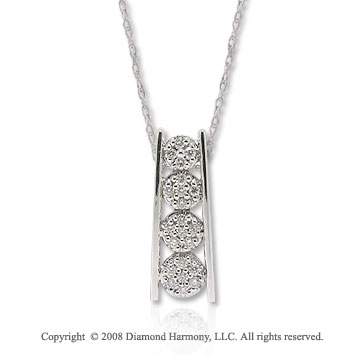 14k White Gold 1/8 Carat Diamond Bar Journey Necklace