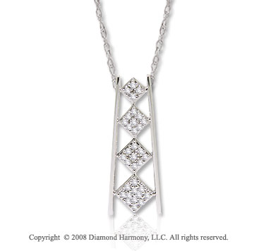 14k White Gold 1/4 Carat Diamond Bar Journey Necklace