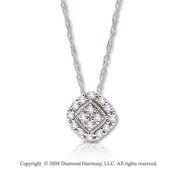 14k White Gold 1/10 Carat Diamond Geometric Necklace