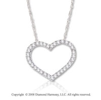 14k White Gold 1/3 Carat Diamond Heart Necklace