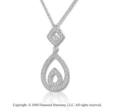 14k White Gold 1/4 Carat Diamond Tear Drop Necklace