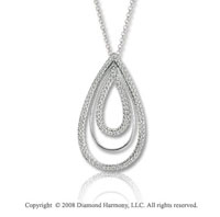 14k White Gold 1/3 Carat Diamond Triple Tear Drop Necklace