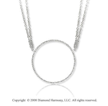 2/5 Carat Diamond 14k White Gold Circle of Life Necklace