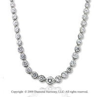 11.30 Carat Diamond 14k White Gold Graduated Tennis Necklace