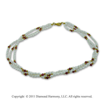20 Inch 3 Strand Twisted Freshwater Pearl and Garnet Necklace