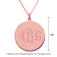 14k Rose Gold 1 1/4 Inch Diameter Monogram Disk Pendant w/ Chain