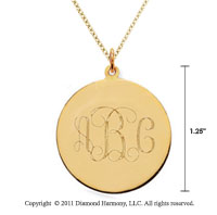 14k Yellow Gold 1 1/4 Inch Diameter Monogram Disk Pendant w/ Chain