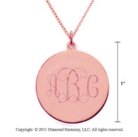 14k Rose Gold 1 Inch Diameter Monogram Disk Pendant w/ Chain