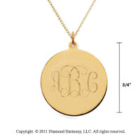 14k Yellow Gold 3/4 Inch Diameter Monogram Disk Pendant w/ Chain