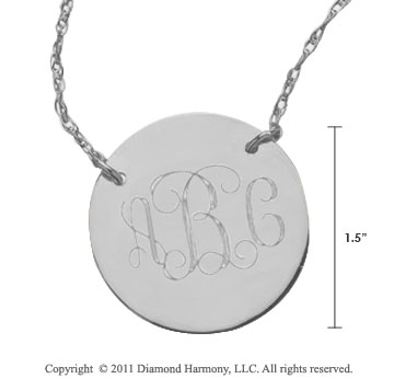Sterling Silver 1 1/4 Inch Diameter Monogram Disk Necklace