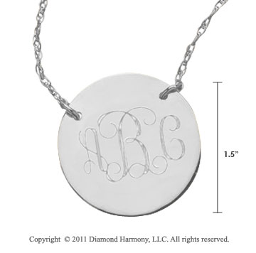 14k White Gold 1 1/4 Inch Diameter Monogram Disk Necklace