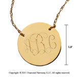 14k Yellow Gold 1 1/4 Inch Diameter Monogram Disk Necklace