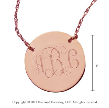 14k Rose Gold 1 Inch Diameter Monogram Disk Necklace