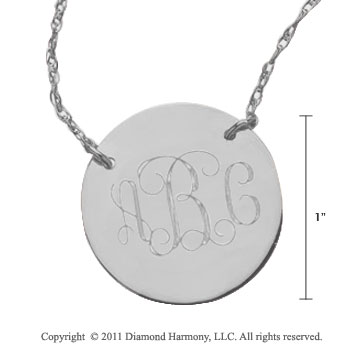 Sterling Silver 1 Inch Diameter Monogram Disk Necklace