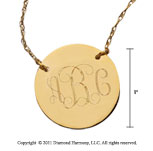 14k Yellow Gold 1 Inch Diameter Monogram Disk Necklace