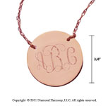 14k Rose Gold 3/4 Inch Diameter Monogram Disk Necklace