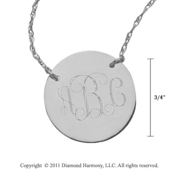 Sterling Silver 3/4 Inch Diameter Monogram Disk Necklace