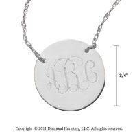 14k White Gold 3/4 Inch Diameter Monogram Disk Necklace