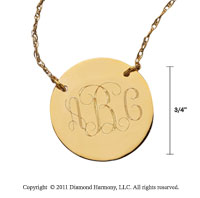 14k Yellow Gold 3/4 Inch Diameter Monogram Disk Necklace