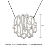Sterling Silver 1 1/2 Inch Lace Monogram Necklace