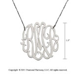 14k White Gold 1 1/2 Inch Lace Monogram Necklace