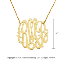 14k Yellow Gold 1 1/2 Inch Lace Monogram Necklace