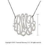 Sterling Silver 1 Inch Lace Monogram Necklace