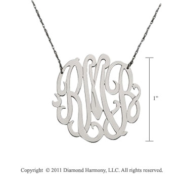14k White Gold 1 Inch Lace Monogram Necklace