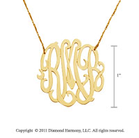 14k Yellow Gold 1 Inch Lace Monogram Necklace