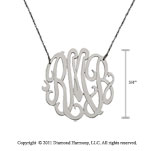 Sterling Silver 3/4 Inch Lace Monogram Necklace