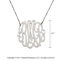 14k White Gold 3/4 Inch Lace Monogram Necklace