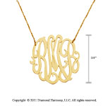 14k Yellow Gold 3/4 Inch Lace Monogram Necklace