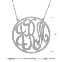 Sterling Silver 1 1/2 Inch Rimmed Lace Monogram Necklace