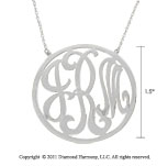 14k White Gold 1 1/2 Inch Rimmed Lace Monogram Necklace