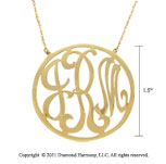 14k Yellow Gold 1 1/2 Inch Rimmed Lace Monogram Necklace