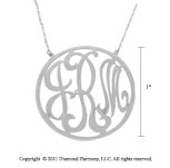 14k White Gold 1 Inch Rimmed Lace Monogram Necklace