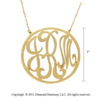 14k Yellow Gold 1 Inch Rimmed Lace Monogram Necklace