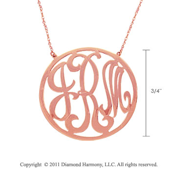 14k Rose Gold 3/4 Inch Rimmed Lace Monogram Necklace
