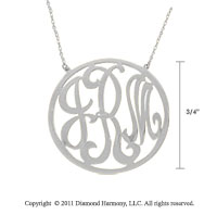 14k White Gold 3/4 Inch Rimmed Lace Monogram Necklace
