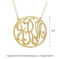 14k Yellow Gold 3/4 Inch Rimmed Lace Monogram Necklace