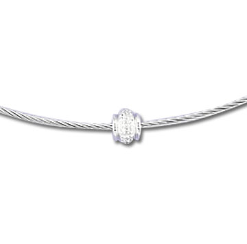 Stainless Steel Diamond Rondelle Necklace