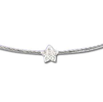 Stainless Steel Diamond Star Necklace