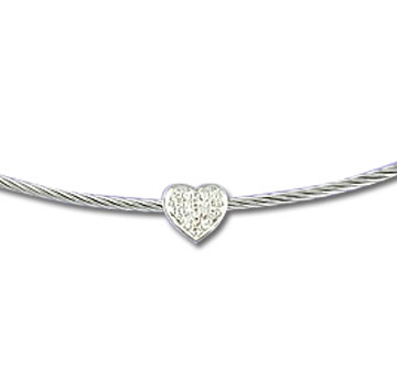 Stainless Steel Diamond Heart Necklace