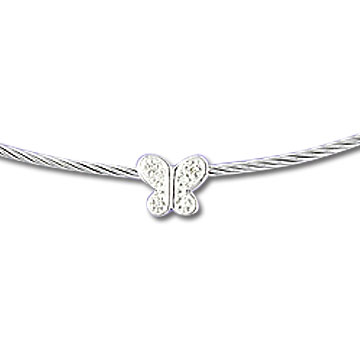 Stainless Steel Diamond Butterfly Necklace