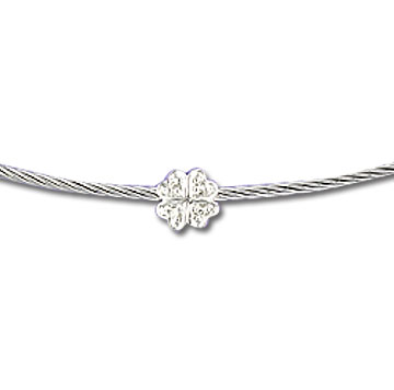 Stainless Steel Diamond Clover Necklace