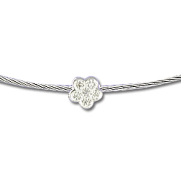 Stainless Steel Diamond Flower Necklace