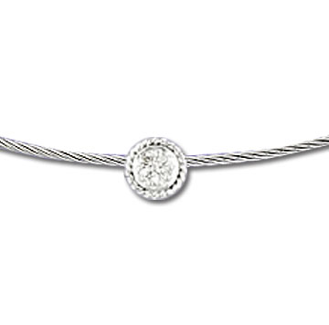 Stainless Steel Diamond Rope Disk Necklace