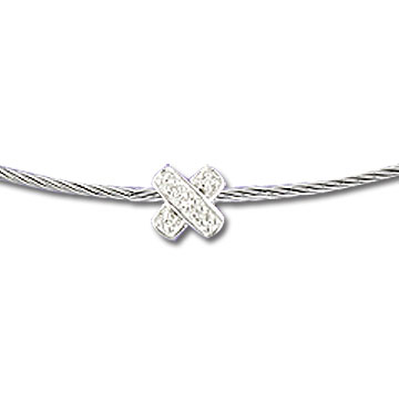 Stainless Steel Diamond X Necklace